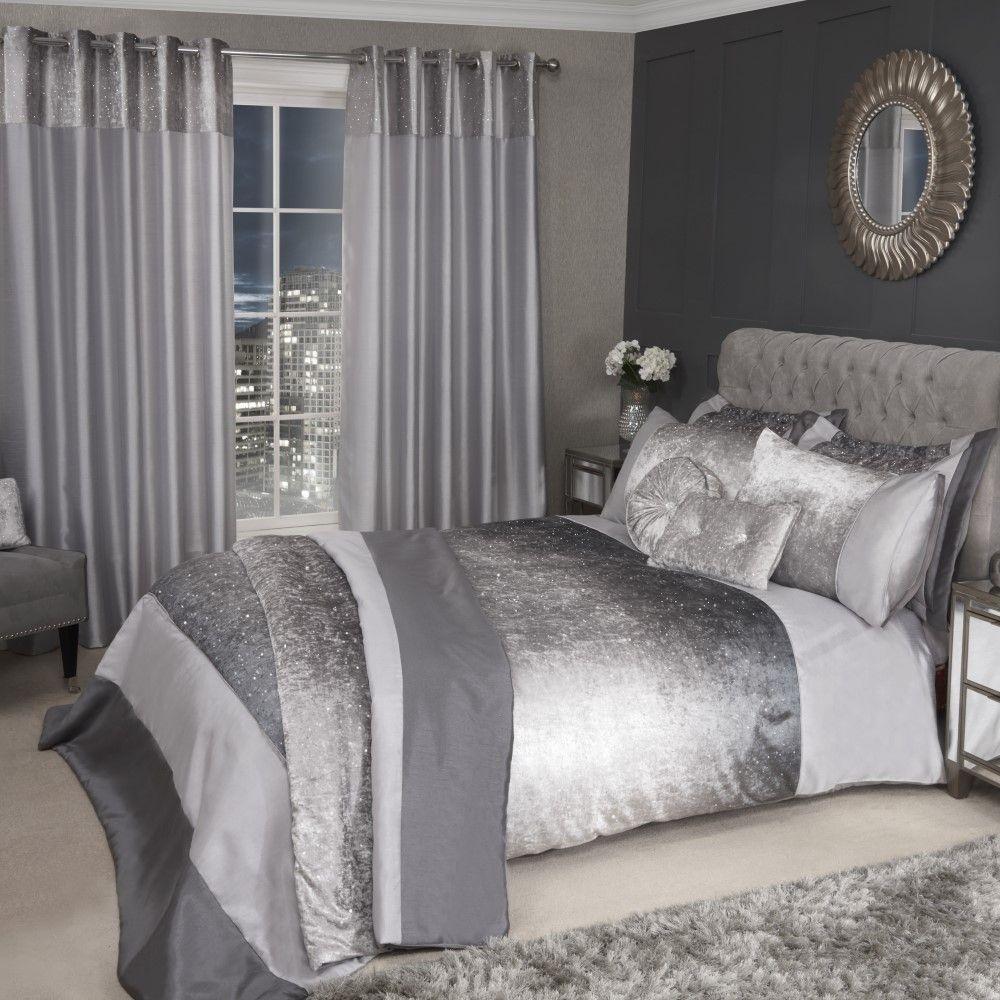 Sparkle-Shimmer-Crushed-Velvet-Duvet-Quilt-Cover-Bedding-Set-Silver-Grey thumbnail 10