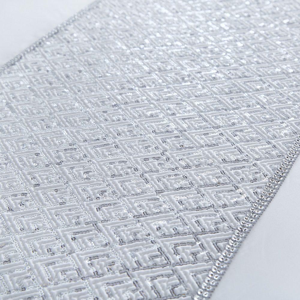 Shimmer-Sequin-Diamante-Duvet-Cover-Set-Eyelet-Curtains-Cushions-White-Silver thumbnail 7