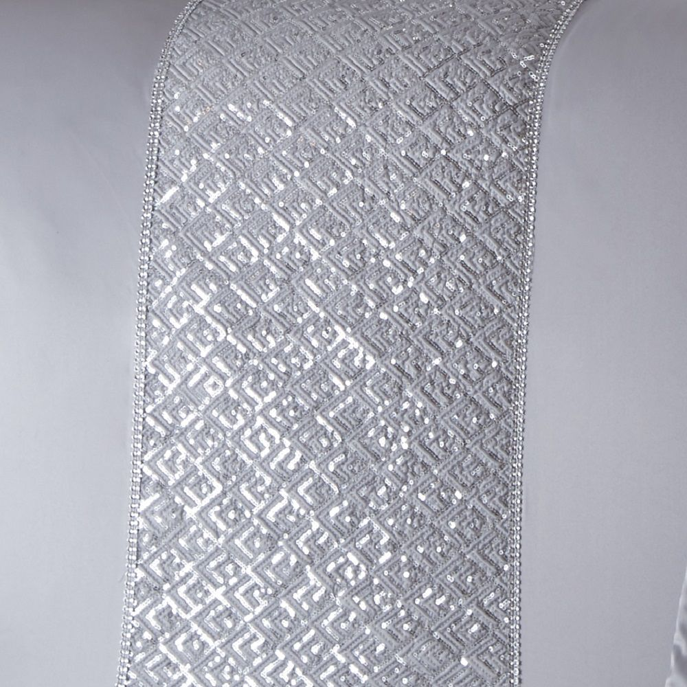 Shimmer-Sequin-Diamante-Duvet-Cover-Set-Eyelet-Curtains-Cushions-White-Silver thumbnail 5