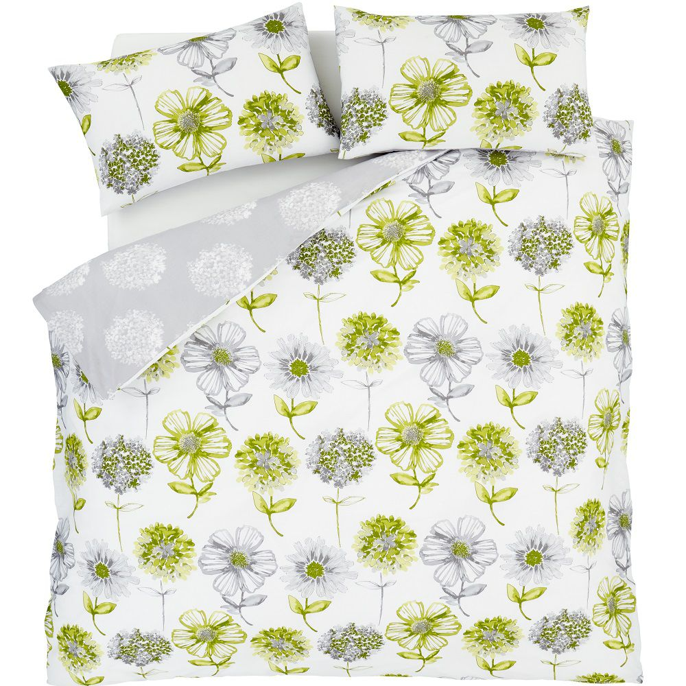 Catherine-Lansfield-Banbury-Floral-Ropa-de-Cama-Edredon-Colcha-Amarillo-Verde miniatura 10