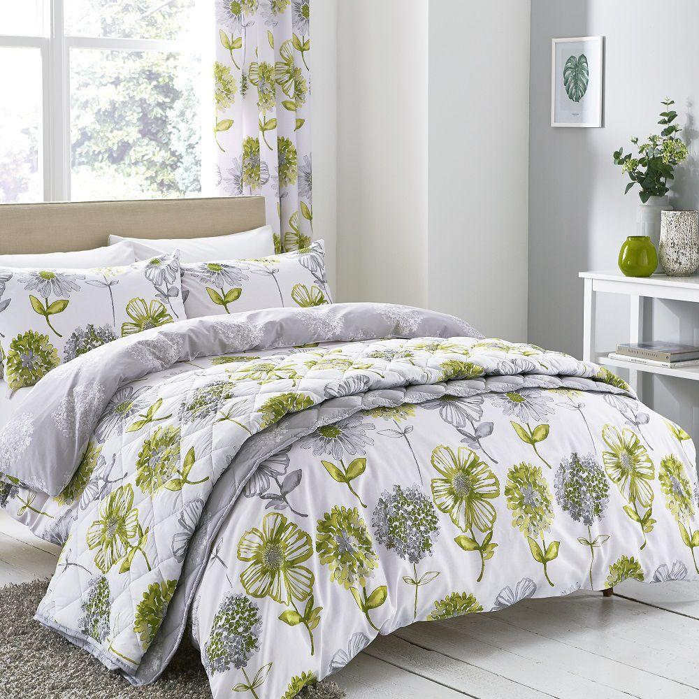 Catherine-Lansfield-Banbury-Floral-Bedding-Duvet-Set-Bedspread-Yellow-Green thumbnail 12
