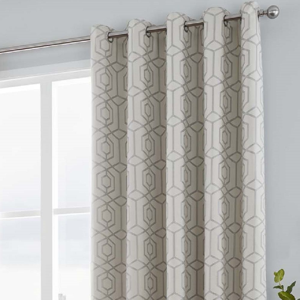 Camberwell Geometric Modern Lined Eyelet Curtains