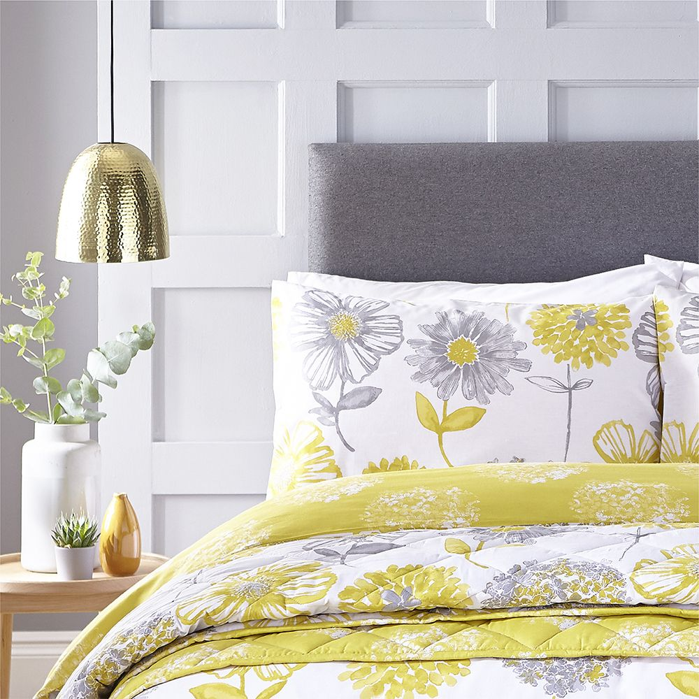 Catherine-Lansfield-Banbury-Floral-Ropa-de-Cama-Edredon-Colcha-Amarillo-Verde miniatura 3