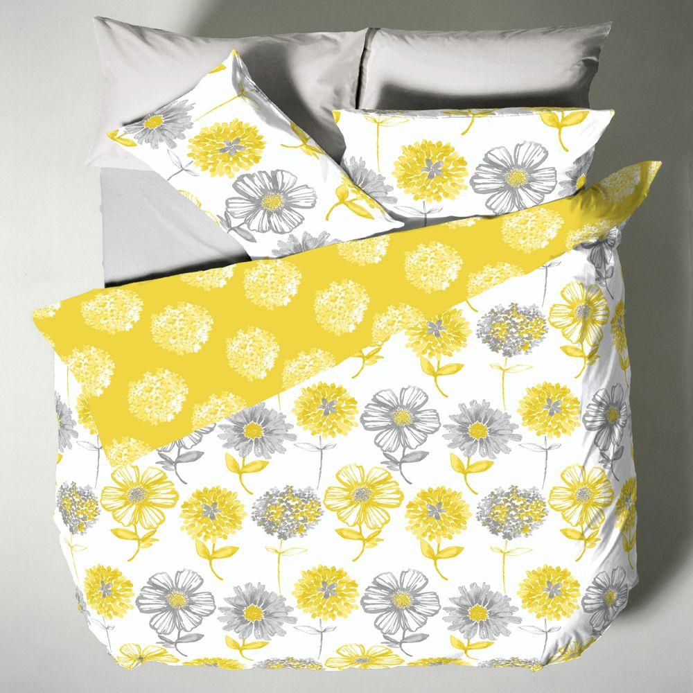 Catherine-Lansfield-Banbury-Floral-Bedding-Duvet-Set-Bedspread-Yellow-Green thumbnail 4
