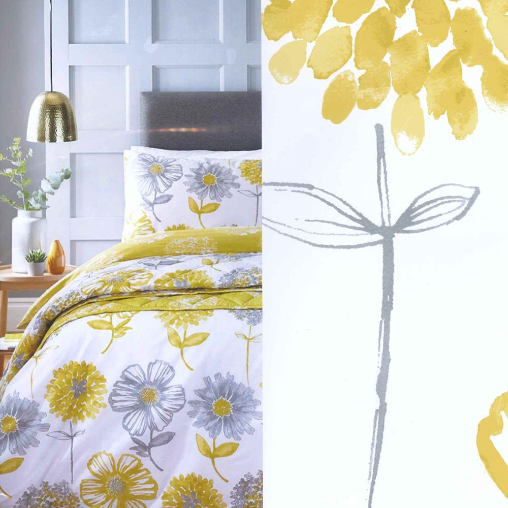 Catherine-Lansfield-Banbury-Floral-Ropa-de-Cama-Edredon-Colcha-Amarillo-Verde miniatura 5