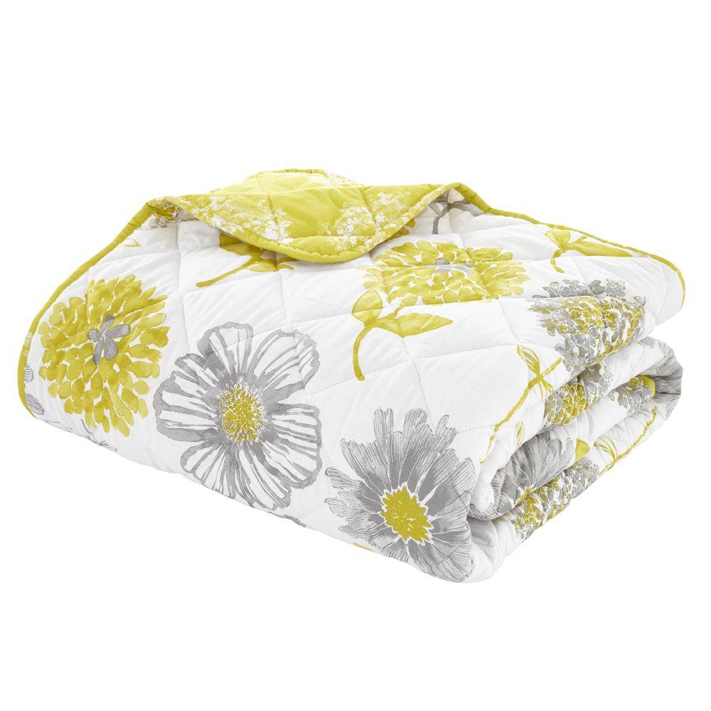 Catherine-Lansfield-Banbury-Floral-Ropa-de-Cama-Edredon-Colcha-Amarillo-Verde miniatura 6