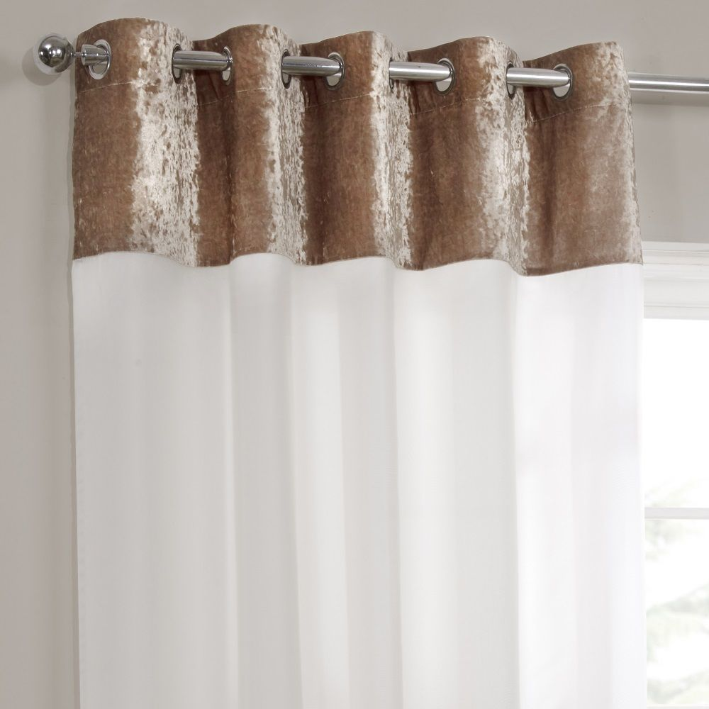 Crushed Velvet Eyelet Lined Voile Curtains Gold Cream