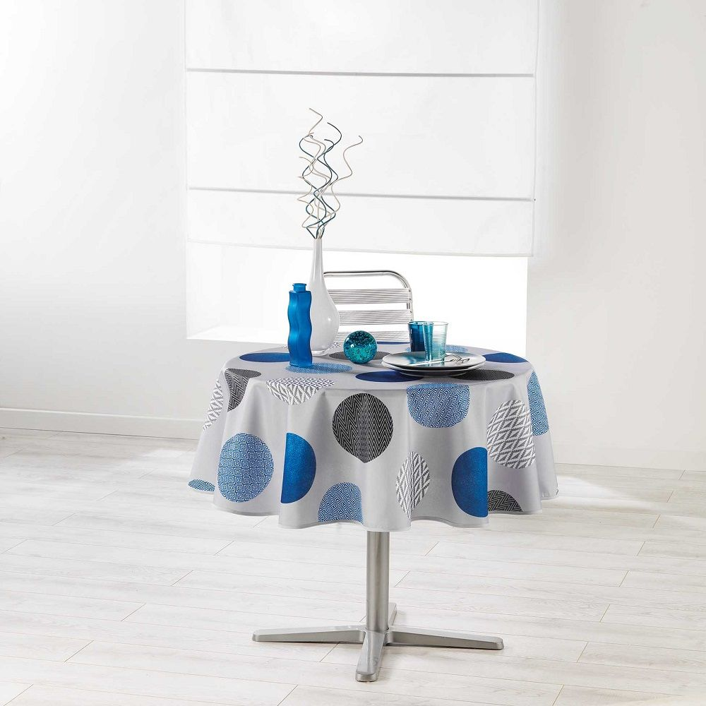 Rectangular or Round Odaly Dining Tablecloth with Printed Circles