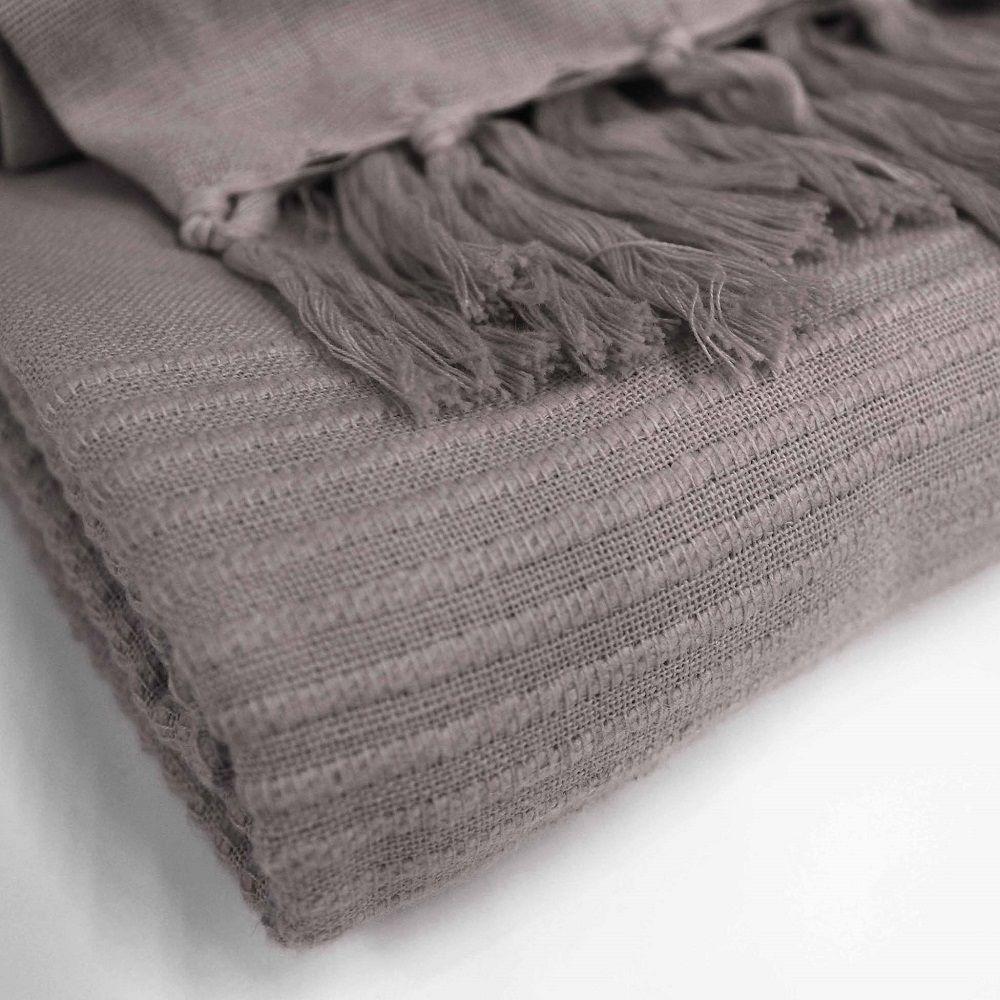 Lana-Tessuti-100-COTONE-tiro-coperta-con-frange-colori-assortiti miniatura 7