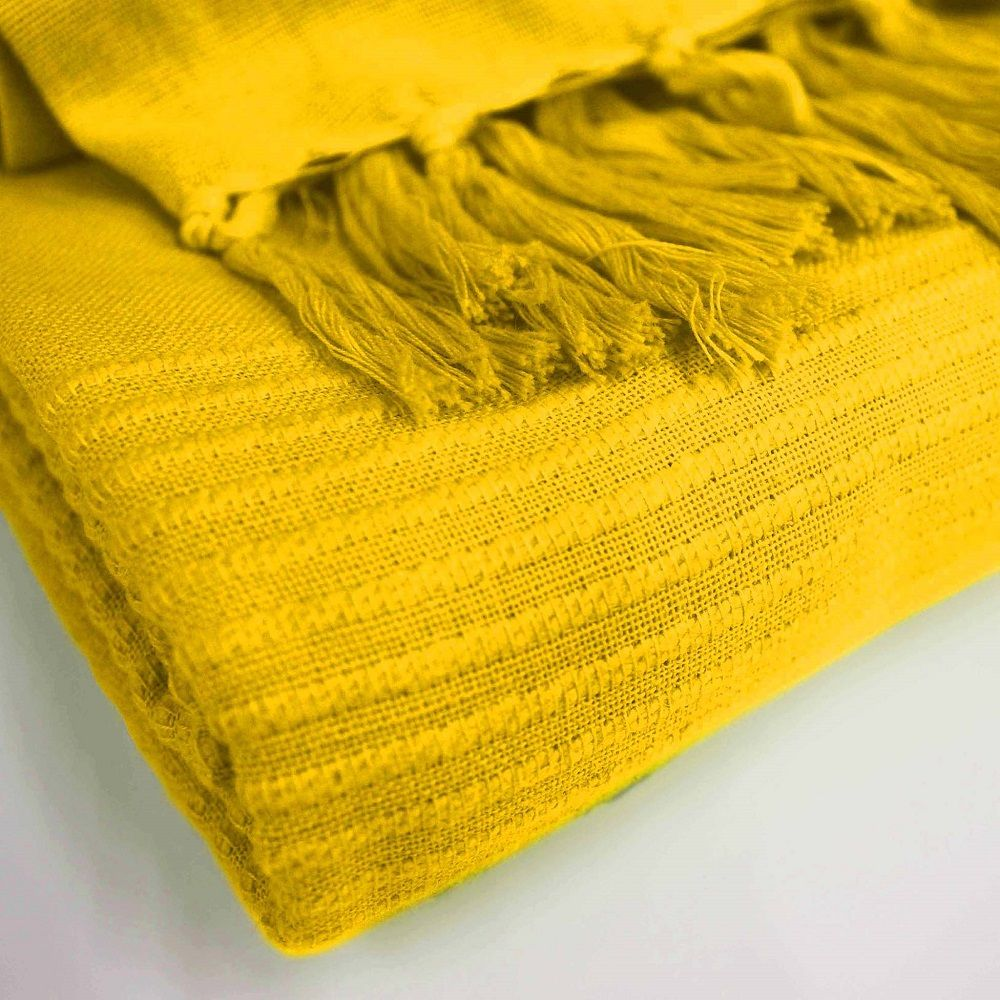 Lana-Tessuti-100-COTONE-tiro-coperta-con-frange-colori-assortiti miniatura 9