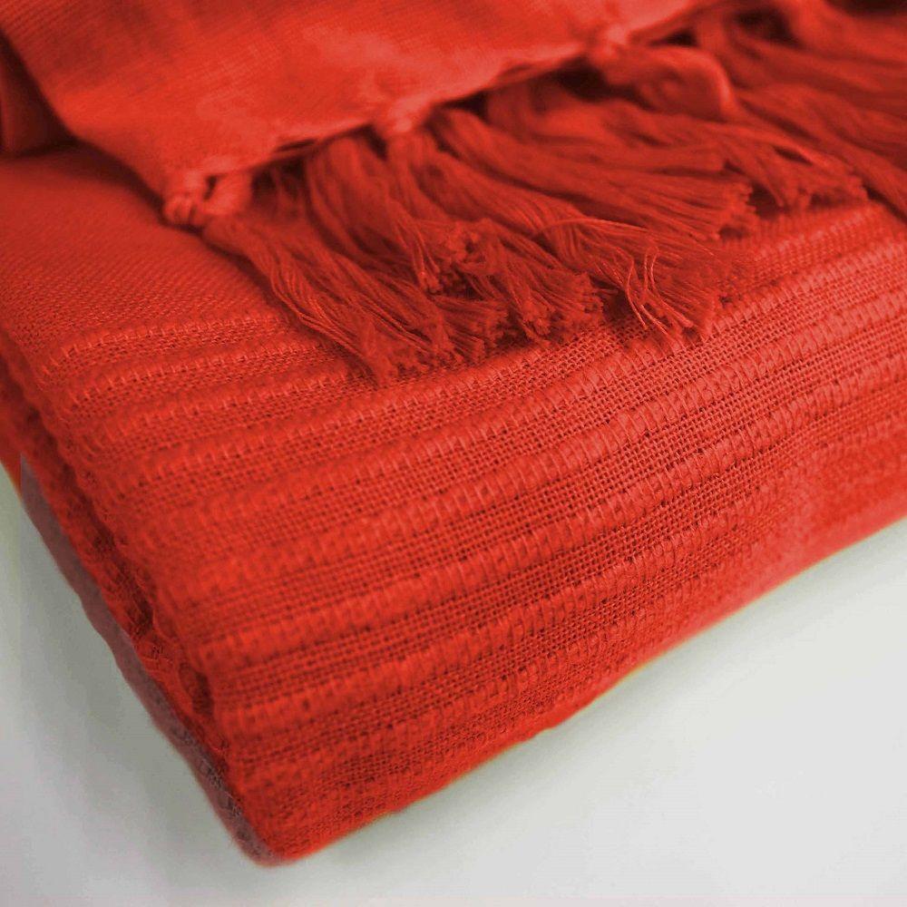 Lana-Tessuti-100-COTONE-tiro-coperta-con-frange-colori-assortiti miniatura 11