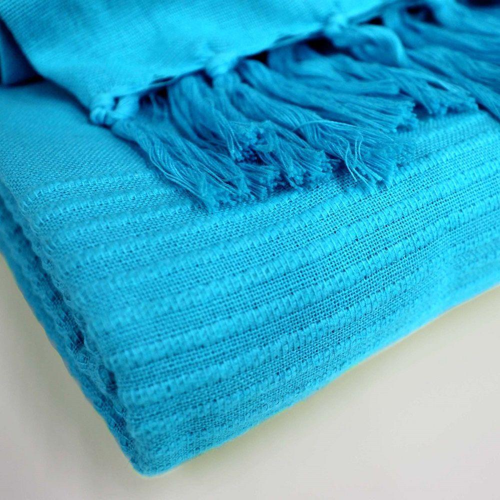Lana-Tessuti-100-COTONE-tiro-coperta-con-frange-colori-assortiti miniatura 17