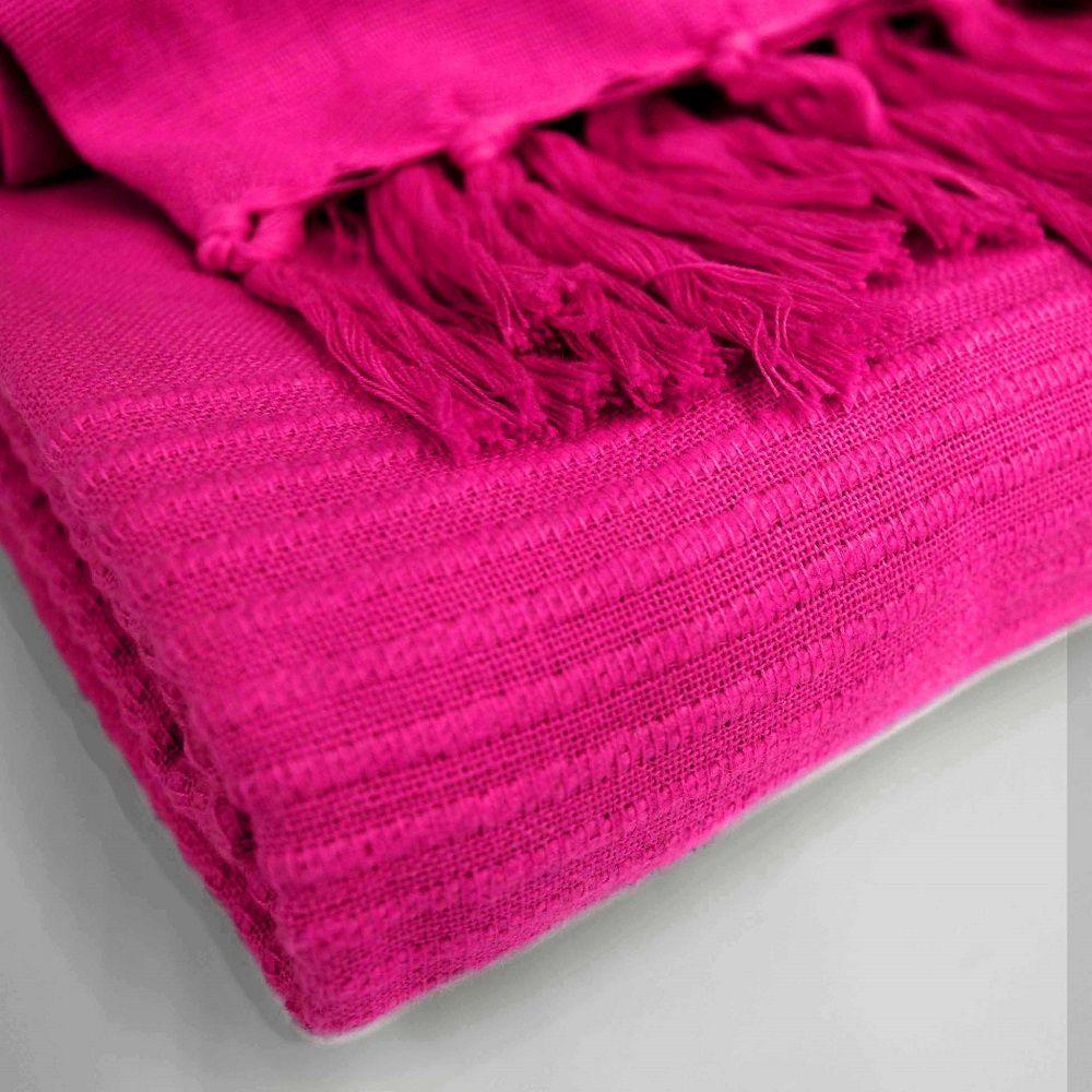 Lana-Tessuti-100-COTONE-tiro-coperta-con-frange-colori-assortiti miniatura 19