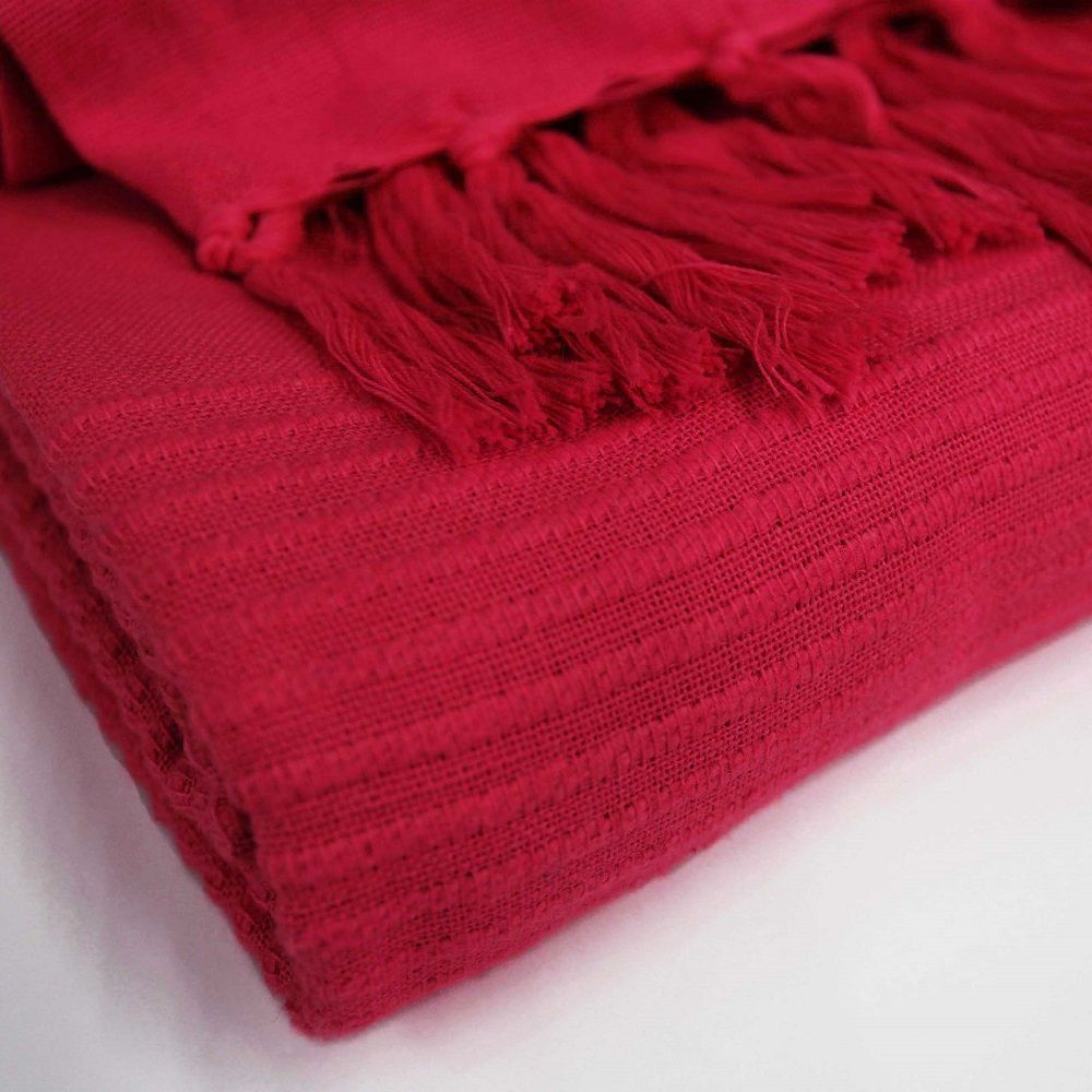 Lana-Tessuti-100-COTONE-tiro-coperta-con-frange-colori-assortiti miniatura 22