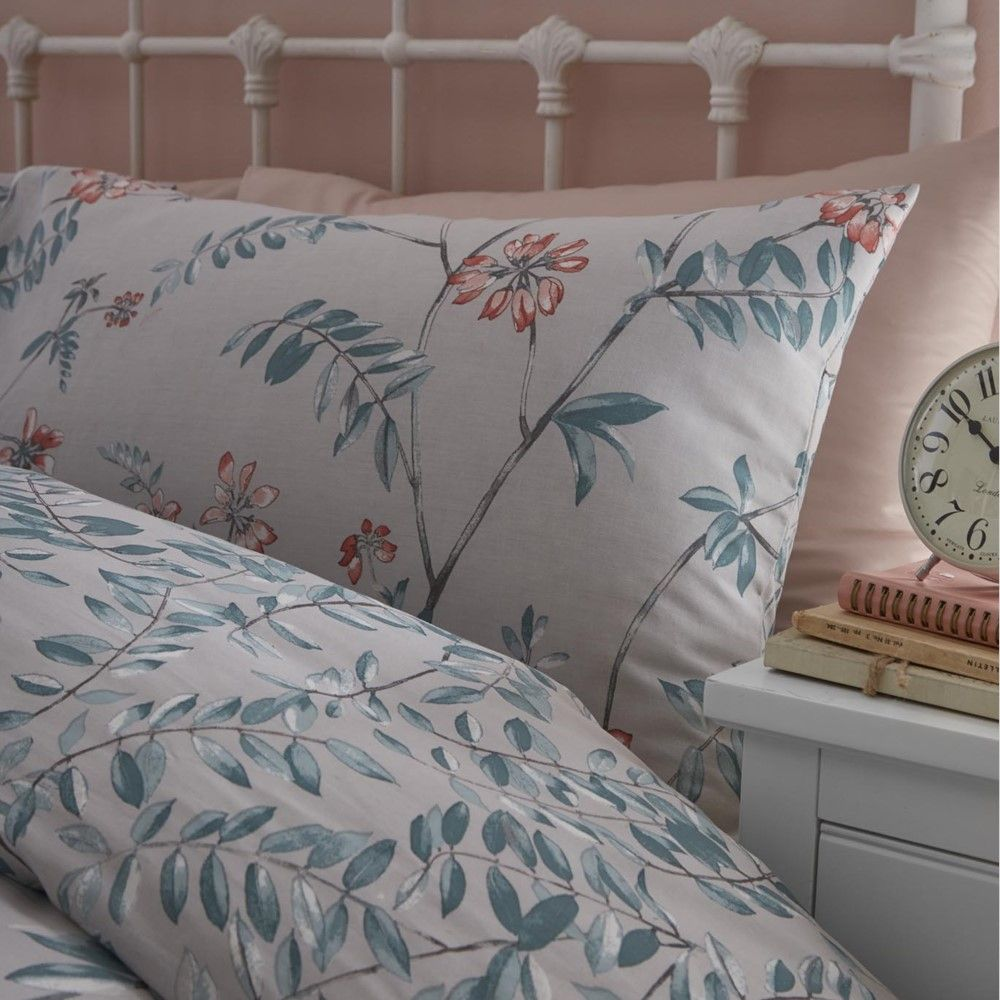 Quilted Bedspread Marldon Floral Duvet Cover Set Grey Curtains Multi