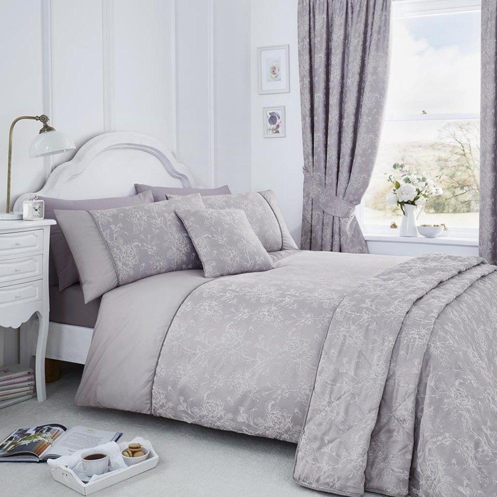 thumbnail 5 - Jasmine Floral Cotton Rich Duvet Cover Set, Curtains, Bedspread - Cream, Purple