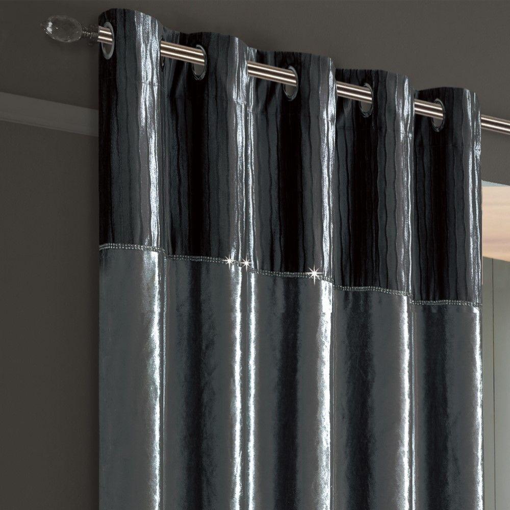 De-lujo-brillo-Diamante-Crushed-Velvet-Cortinas-DE-ORIFICIOS-conjunto-de-edredon-gris-plata miniatura 6