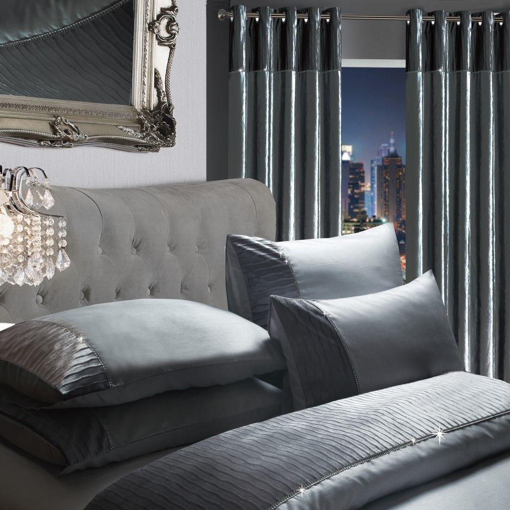Luxury-Sparkle-Diamante-Crushed-Velvet-Duvet-Set-Eyelet-Curtains-Silver-Grey thumbnail 7