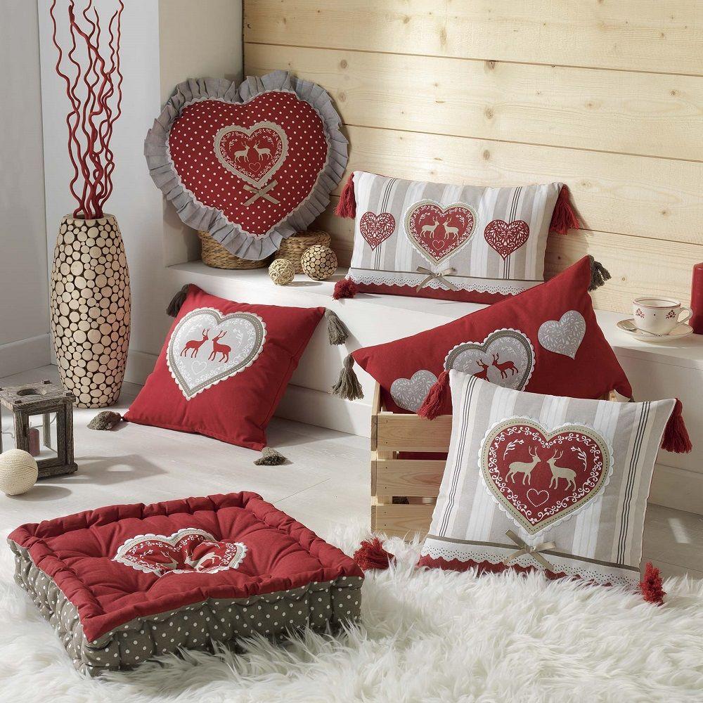 Edelweiss Corazón 100/% Cotton Country Home Collection-Cortina Cojín Throw