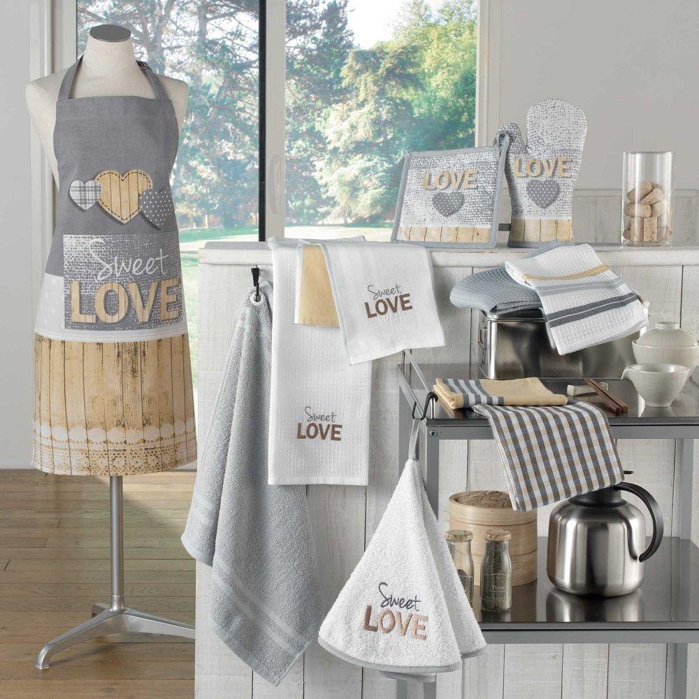 Copieuse Love 100/% Coton Cuisine objet collection Gris /& Jaune-Nappe Serviettes