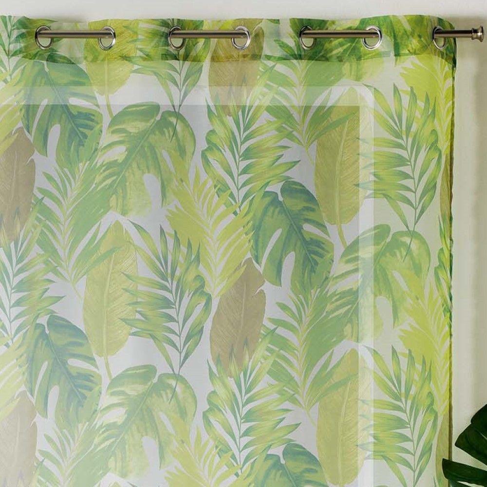 AKENA-Tropicale-Floreale-sfoderato-Tende-con-occhiello-pannello-voile-verde-Long-Gocce miniatura 6