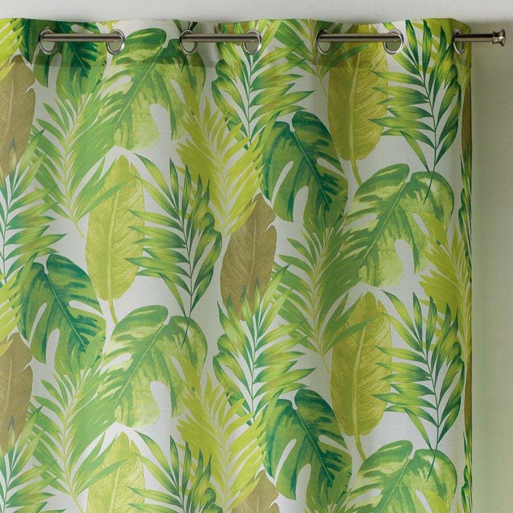 AKENA-Tropicale-Floreale-sfoderato-Tende-con-occhiello-pannello-voile-verde-Long-Gocce miniatura 3