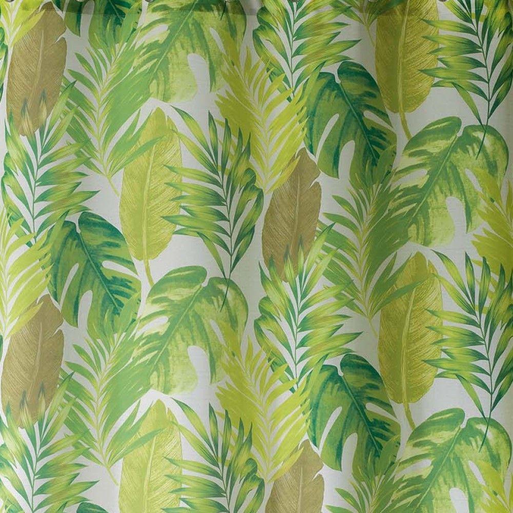 AKENA-Tropicale-Floreale-sfoderato-Tende-con-occhiello-pannello-voile-verde-Long-Gocce miniatura 4
