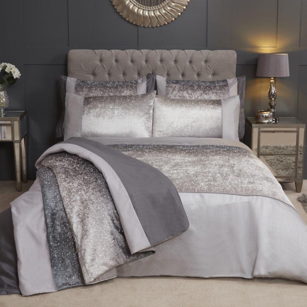 Sparkle-Shimmer-Crushed-Velvet-Duvet-Quilt-Cover-Bedding-Set-Silver-Grey thumbnail 3