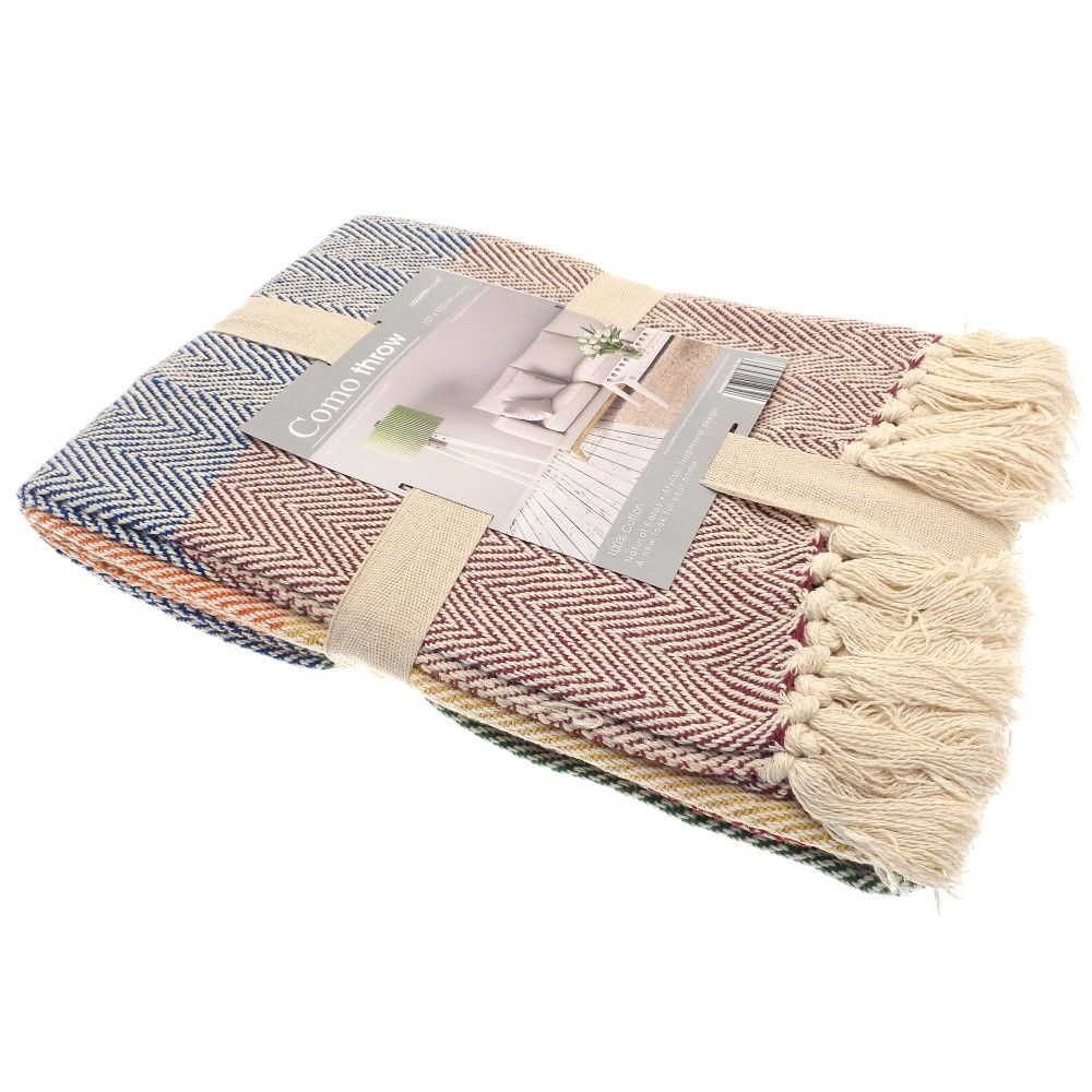 Como-100-Cotton-Soft-Sofa-Chair-Bed-Blanket-Throw-Throwover-Grey-Natural-Multi thumbnail 5
