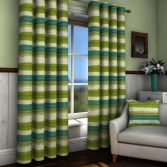 St Ives Green Striped Lined Eyelet Curtains
