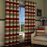 St Ives Red Striped Lined Eyelet Curtains