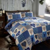 Stag Reversible Rustic Patchwork Duvet Cover Set - Blue
