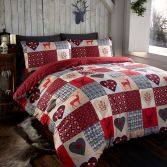 Stag Reversible Rustic Patchwork Duvet Cover Set - Red
