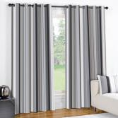 Wentworth Black  Striped Eyelet Ring Top Fully Lined Curtains