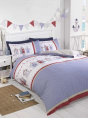 Beach Huts Blue Duvet Cover Set