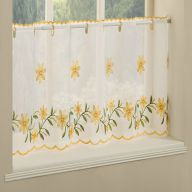 Daisy Embroidered Caf� Net Panel - Yellow