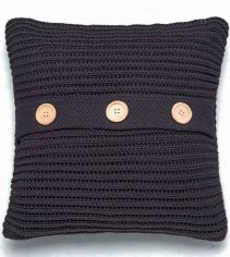 Chunky Knit Cushion Cover - Charcoal