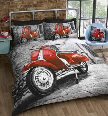 Red Scooter Duvet Cover Set