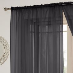 Lucy Slot Top Voile Curtain Panel - Black