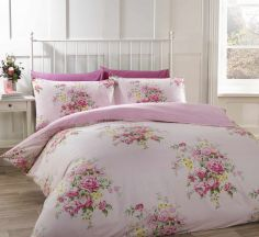 Katie Floral Pink Thermal Flannelette Duvet Cover Set