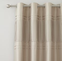 Diamante Pleats Fully Lined Eyelet Curtains - Gold