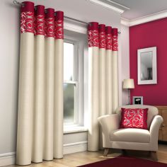 Skye Red & Cream Lined Eyelet Curtains