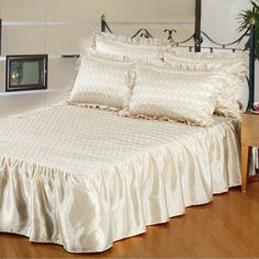 Cream Quilted Satin Bedspread