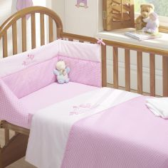 Tweet Dreams Cot Quilt and Bumper Set - Pink