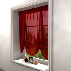 Red Voile Tie Up Blind