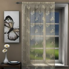 Butterfly Cream Lace Voile Curtain Panel