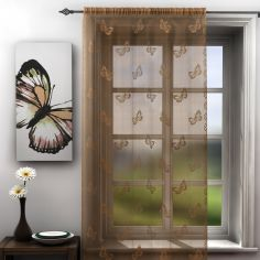 Butterfly Latte Lace Voile Curtain Panel