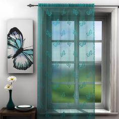 Butterfly Design Teal Lace Voile Curtain Panel