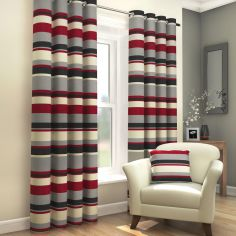Black, Red & Grey Striped Lined Eyelet Curtains