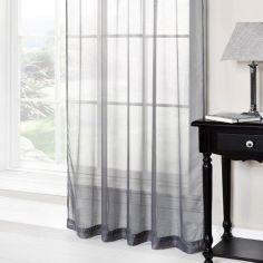 Grey Ring Top Voile Curtain Panel